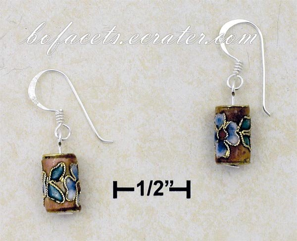 A Pair of 0.925 Sterling Silver Enamel Floral Tube French Wire Earrings