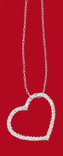 """0.925 Sterling Silver 16"""" Clear Cubic Zirconia 25MM Open Heart Necklace"""