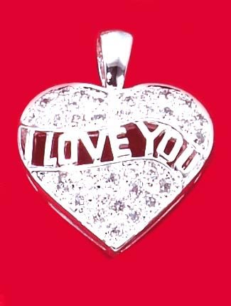 "0.925 STERLING SILVER ""I Love You"" Pave Heart Pendant"