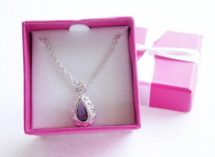 Gift Boxed Jeweltone Pearl Shaped Amethyst Crystal & Clear Rhinestones Silvertone Necklace