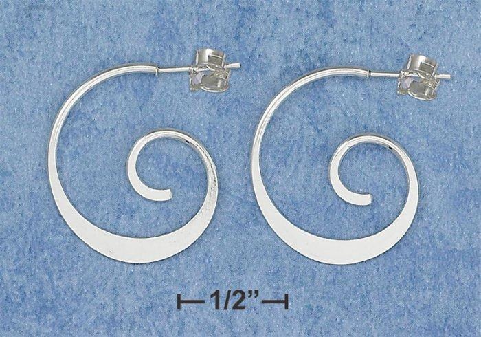 NEW-CLASSIC DESIGNER'S PATTERN 0.925 STERLING SILVER SWIRL HOOP POST EARRINGS