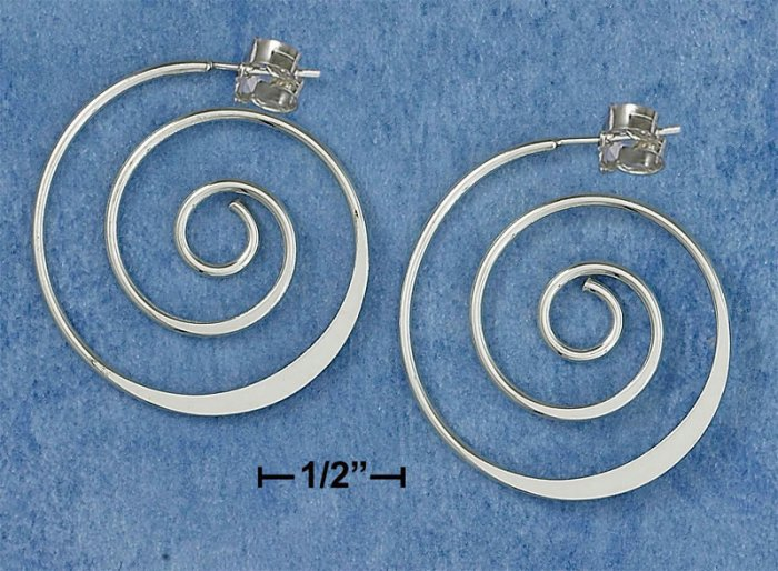 NEW-CLASSIC DESIGNER'S PATTERN 0.925 STERLING SILVER SPIRAL HOOP POST EARRINGS
