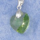0.925 STERLING SILVER 14MM APPLE GREEN CRYSTAL HEART PENDANT