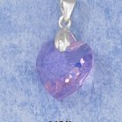 0.925 STERLING SILVER 14MM LAVENDER CRYSTAL HEART PENDANT