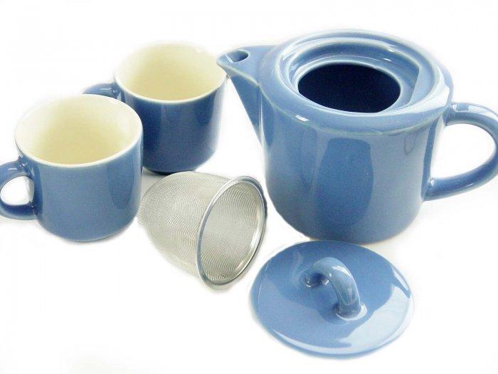 FORLIFE Tea Set (Teapot & 2 Teacup Set) Stainless-steel Tea Infuser Included