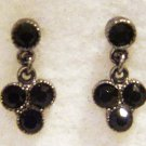 SILVERTONE ONYX GEMSTONE-CRYSTAL POST EARRINGS