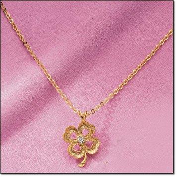 Goldtone 4-LEAF CLOVER LUCKY CRYSTAL Necklace