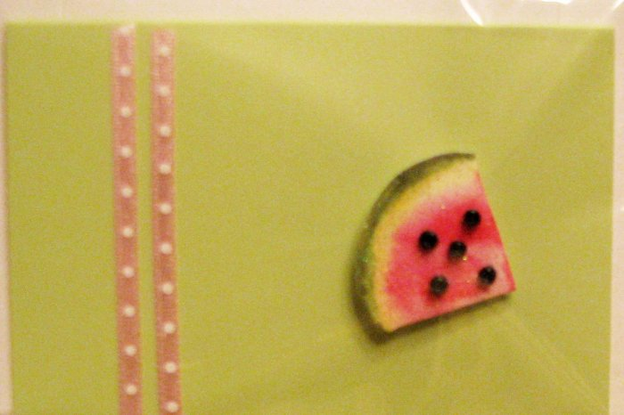 """""""Mini"""" Handcrafted """"WATERMELON"""" Note Card"""