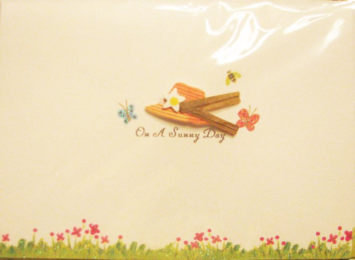 "Handcrafted ""ON A SUNNY DAY"" Greeting Card: BLANK INSIDE - write your own message"
