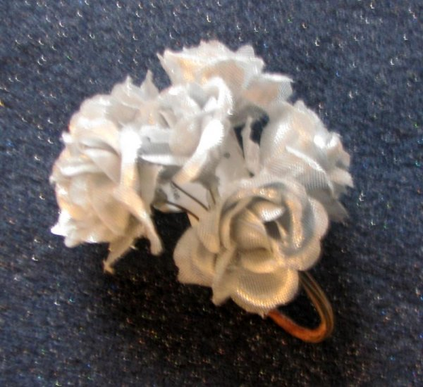 """*FREE SHIPPING to US & CANADA* Handcrafted """"A Bundle of Satin-Silver Ribbon Roses"""""""