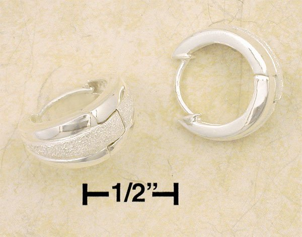 0.925 STERLING SILVER 17MM Tapered Hinged Hoop Earrings with STAR DUST BANG