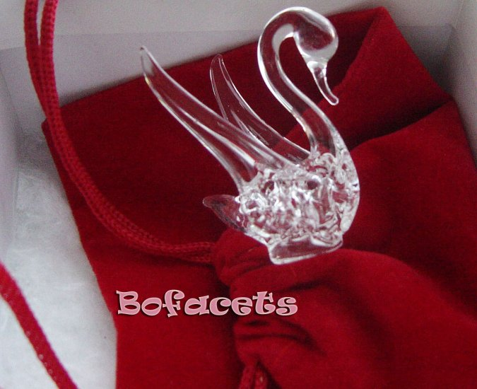 Mini Handcrafted Crystal Glass Decoration - Swan Crystal Glass Figurine