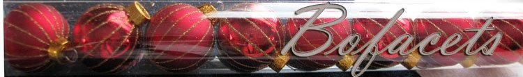 """A Set of 8-Piece Glittery Gold-Strips BRIGHT RED COLOR """"Celebrate It Christmas"""" Decorations"""