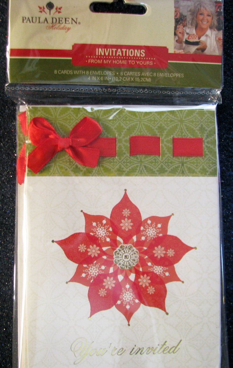 PAULA DEEN Holiday Invitations - 8 Cards With Envelopes