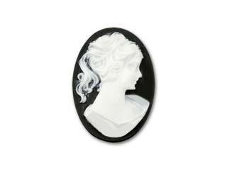 40x30mm RESIN CAMEO - BLACK and IVORY/WHITE