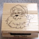 Clearance New Wood Mounted Santa Claus Rubber Stamp