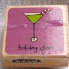 "Clearance New Wood Mounted ""Holiday Cheer"" Rubber Stamp"