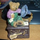 Little Boy Bear Sitting on Gramophone Music Box Plays Beautiful Dreamer #400078