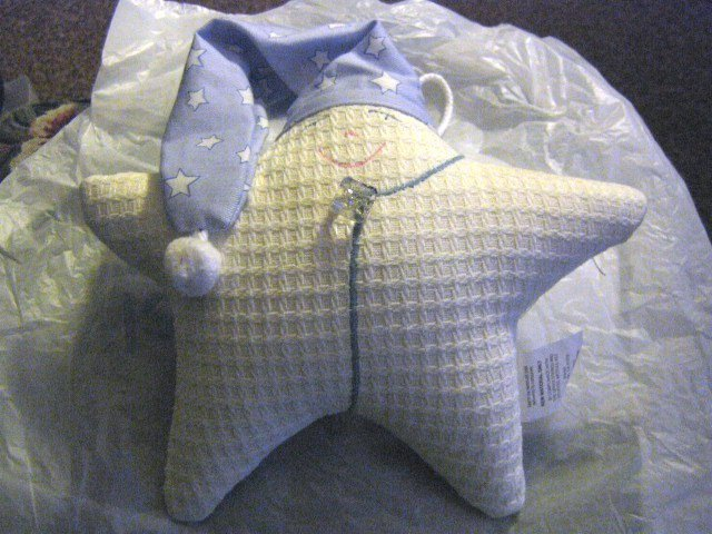 White Cloth Star with Night Cap Baby Crib Music Box Twinkle Twinkle Little Star #400121
