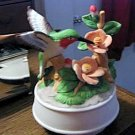 Ceramic Hummingbird and Flowers Music Box Plays Edelweiss #400096