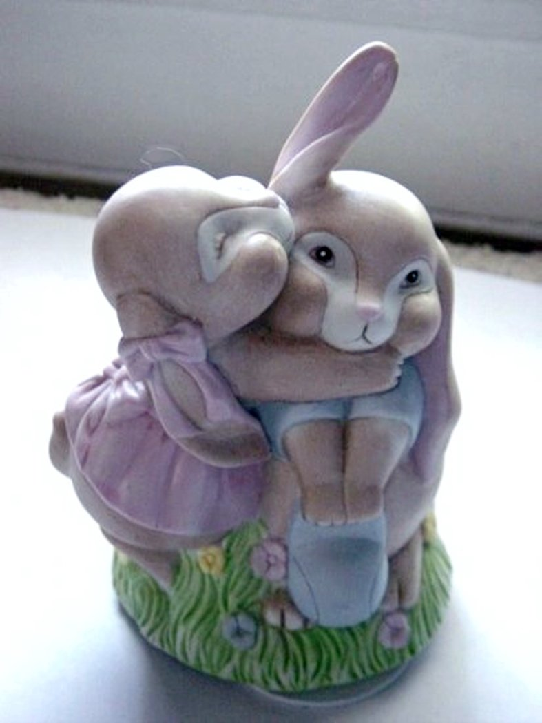 Willits Little Girl and Boy Rabbits Hugging Music Box #400039