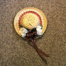 Decorated Straw Hat Music Box Plays I'd Like to Teach the World to Sing #400125