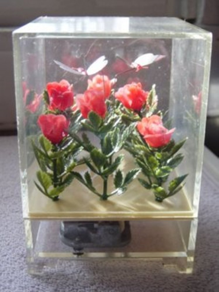 Vintage Clear Case Music Box  with Roses and Butterflies #400066