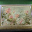 White Washed Wooden Musical Music Jewelry Box Pink Rose Covered Tile Lid    #400059