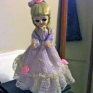 Vintage Bradley Music Box Doll Big Eyed Girl Dark Lavender Dress Blond Hair  #400123