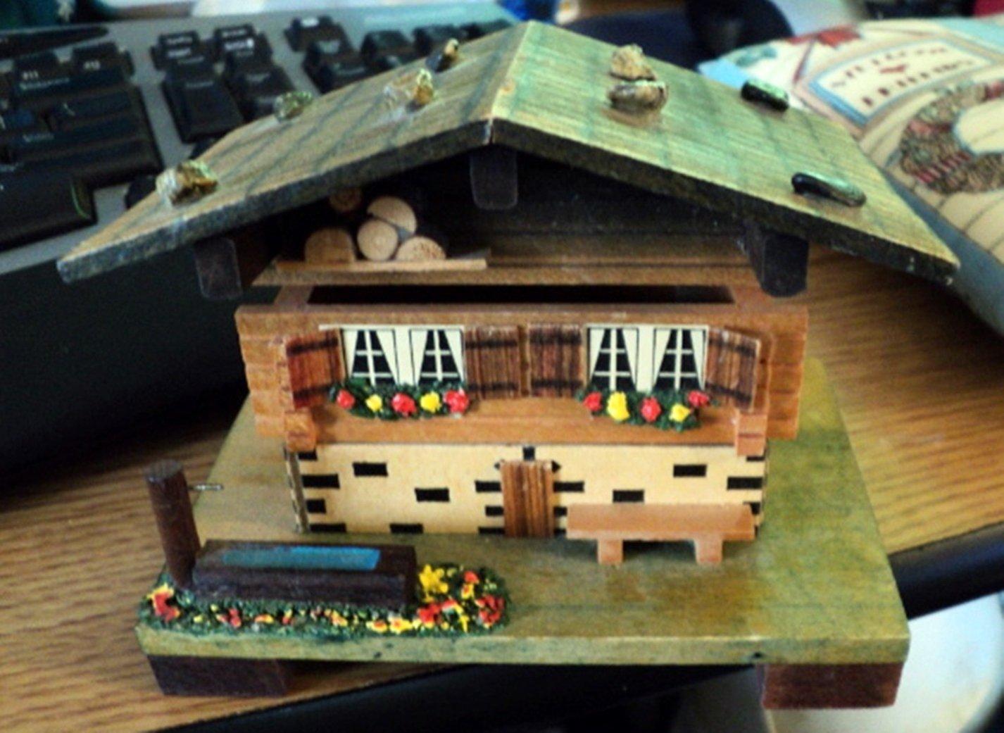 Vintage M.I.M. Lador, Inc. Wooden Swiss Chalet Music Box Plays Dr. Zhivago  #400128