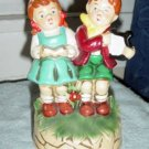 Little Girl and Boy Singing and Playing Harpsicord Music Box #400032