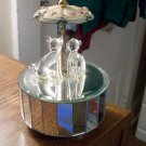 Glass Cats on Mirror Base Music Box Plays It's a Small World #400149