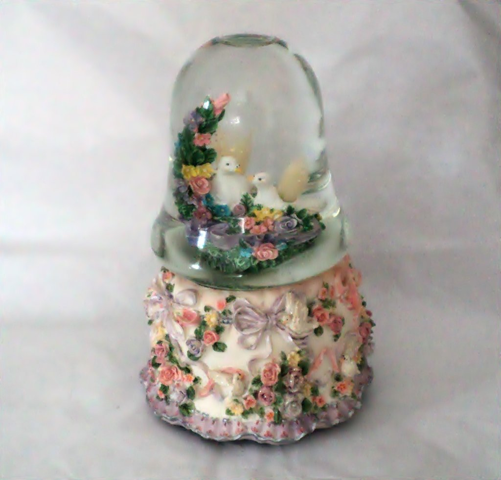 Two White Doves Music Box with Lights Plays Our Love #400157