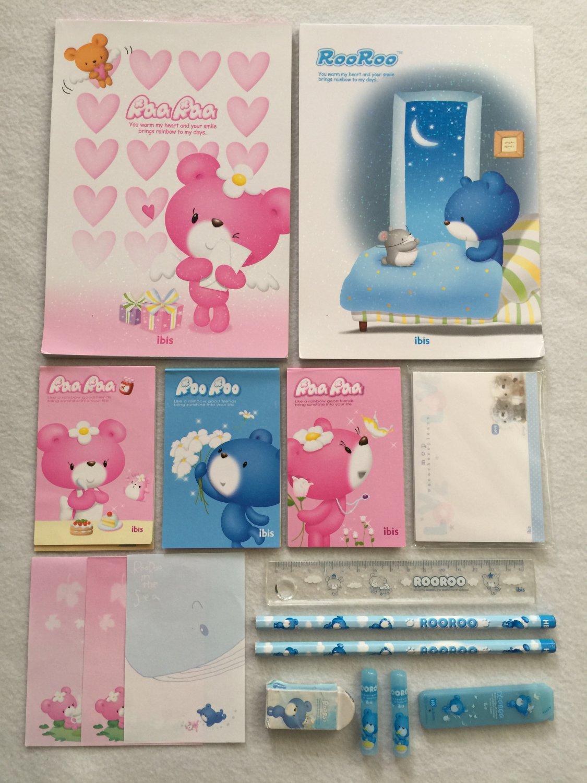 Ibis Korea MCP RooRoo RaaRaa Bear Writing Paper Letter Stationery Sheets Notepads Pencils