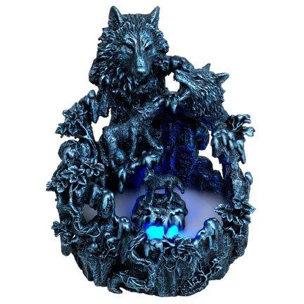 Dark Wild Wolves Water Mist Fountain Statue