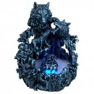 Dark Wild Wolves Water Mist Fountain Statue