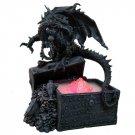 Dark Dragon with Treasure Chest Water Mist Statue