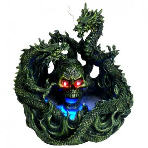 Dual Dragon with Skull Head Water Mist Fountain LED Light Statue