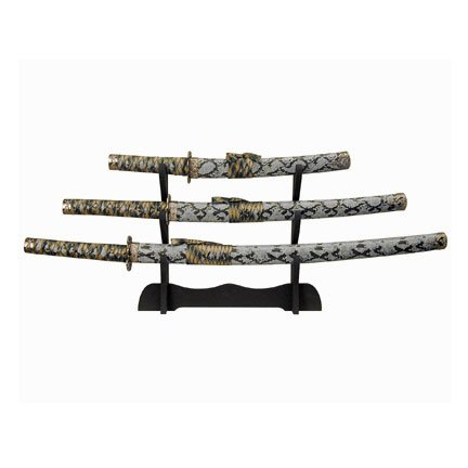 Blue Snake Skin Body Samurai 3 Sword Set with Stand