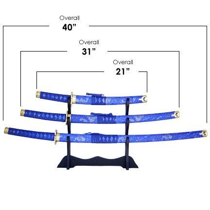 Blue Wrap Samurai 3 Sword Set with Stand