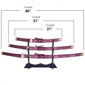 Red Wrap Samurai 3 Sword Set with Stand