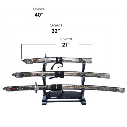 Wolf Head Samurai 3 Sword Set with Stand