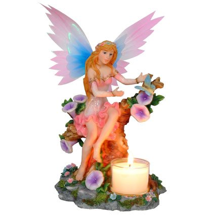 Fairy Sitting on Tree Trunk Candle Holder