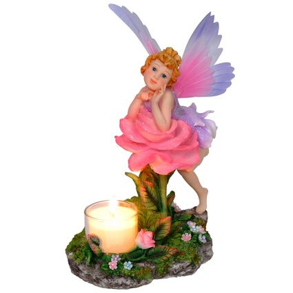Fairy with Pink Rose Candle Holder