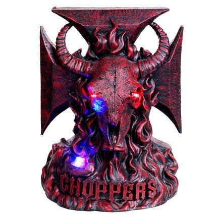 Burgundy Bull Head Chopper LED Light Statue