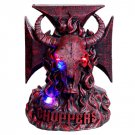 Burgundy Bull Head Chopper LED Light Statue