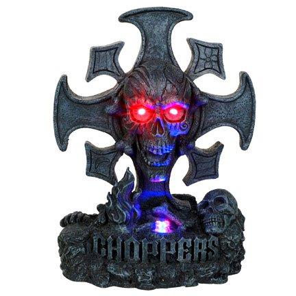 Cross Skull Chopper LED Statue