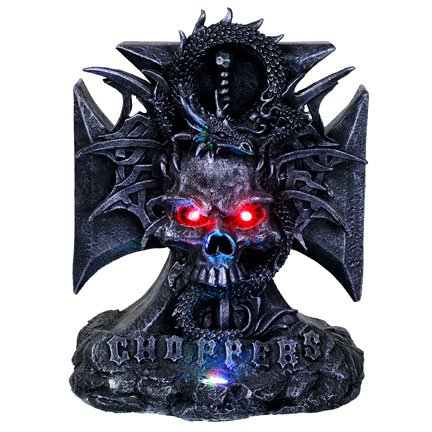 Skull with Dragon Chopper - B LED Statue