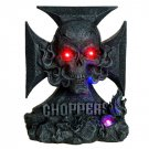 Skull with Fire Chopper LED Light Statue