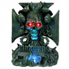 Skull with Flames Chopper LED Statue